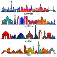 Travel and tourism line illustration. Mexico, Budapest, Jakarta