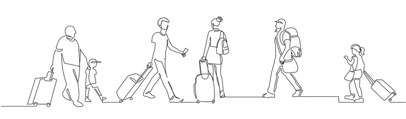 People walking with luggage continuous one line vector drawing