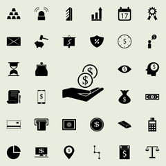 coins in hand icon. banking icons universal set for web and mobile