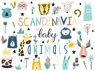 Baby animals, plants, flowers and other elements collection. Scandinavian style.