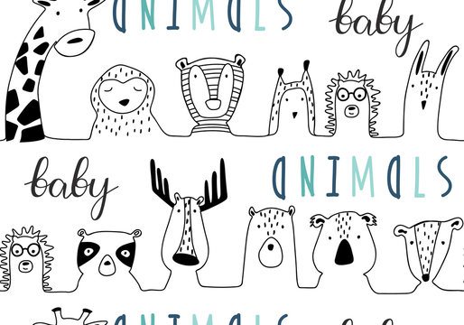 Baby animals cute cartoon seamless pattern in lines style.