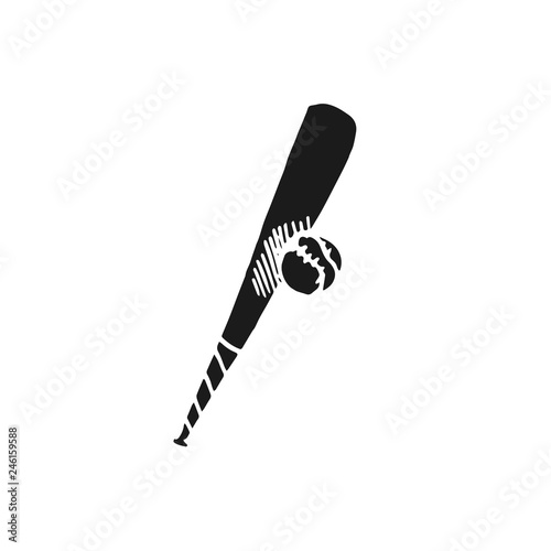 f447fba13cf baseball bat and ball vector doodle sketch isolated on white