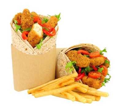 Southern fried chicken fillets and salad in wholemeal tortilla wraps with French fries isolated on a white background