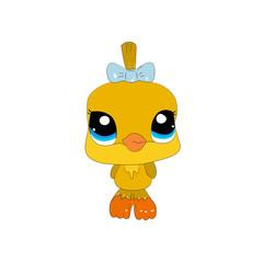 Duckling vector illustration. Cute cartoon animal with big eyes.