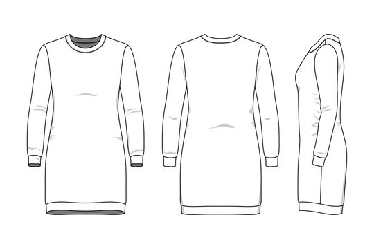 Female dress clothing set. Blank template of sweatdress in front, back and side views. Casual style. Vector illustration for your fashion design.