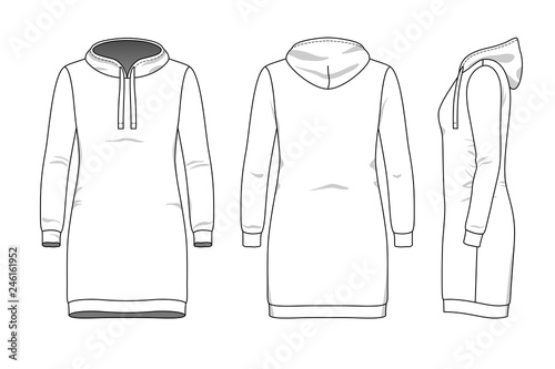 Female dress clothing set  Blank template of hood sweatdress