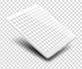 Tablet pc computer on transparent background.