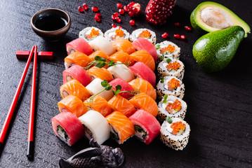 Printed roller blinds Sushi bar sushi on the black background