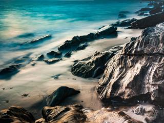 Long exposure ocean of the rocky coasline of Tarifa, Spain