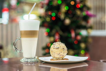 Dessert with latte on New Year's background