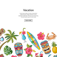 Vector cartoon summer travel elements background illustration. Vacation web banner with color elements