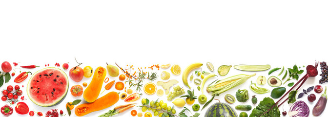 Banner from various vegetables and fruits isolated on white background, top view, creative flat...