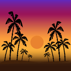Illustration of a tropical sunset