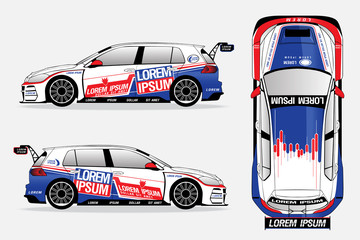 white sport car vector template on white background.