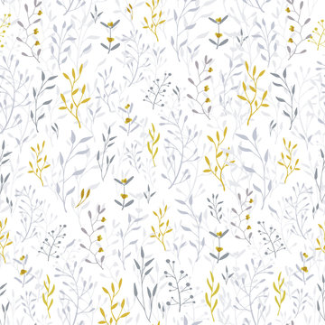 Hand drawn floral seamless pattern and backdrop.