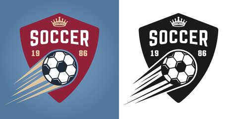Soccer two styles vector emblems with flying ball