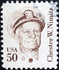 Fleet admiral Chester Nimitz on american postage stamp