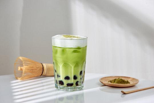 Homemade Tapioca pearl (boboa) green tea (Japanese matcha latte) - creamy and yummy with pretty look