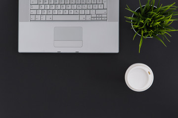 Minimal Creative Top View Workspace Flat Lay with Computer and Coffee
