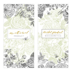 Vintage Floral Cards Set. Frame with Engraving Flowers. Botanical Illustration with Roses, bumblebees and other Flowers. Retro Graphic Style. Can use for eco natural product, herbal cosmetics and othe