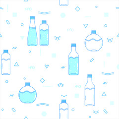 Flat seamless pattern. Health bottle water.