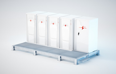 Modular and portable white battery energy storage system installed on support construction. 3d rendering  isolated on white.