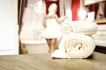 towels on desk and bathroom interior