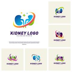 Set of Kidney Logo Design Concept. Urology Logo Vector Template