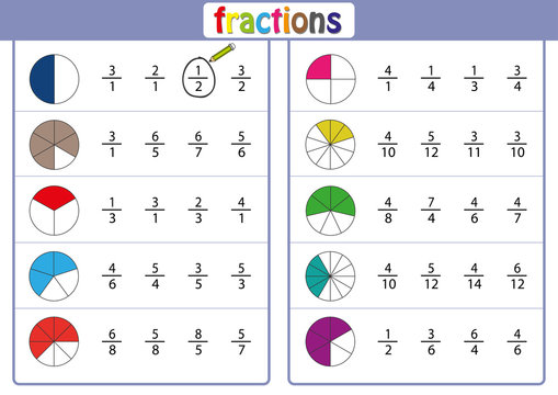 circle the correct fraction, Mathematics, math worksheet