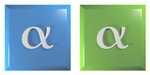Push buttons square, blue and green with alpha sign - 3D rendering illustration