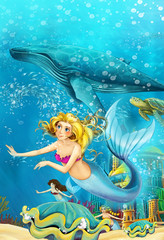 Cartoon ocean and the mermaid in underwater kingdom swimming with whales - illustration for children