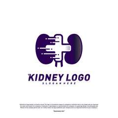 Kidney with Plus Health Logo Design Concept. Urology Logo Vector Template