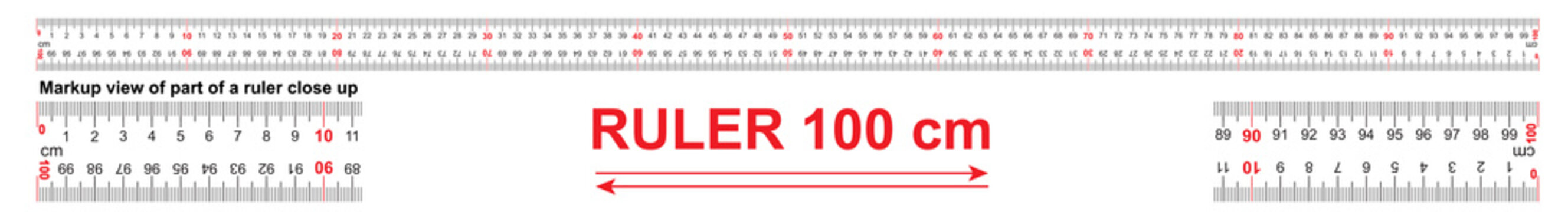 Bidirectional ruler 100 cm or 1000 mm. Used in construction, engineering, clothing manufacturing, carpentry.