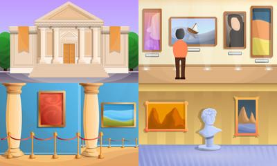 Museum banner set. Cartoon illustration of museum vector banner set for web design