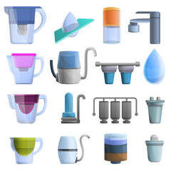 Filter water icons set. Cartoon set of filter water vector icons for web design