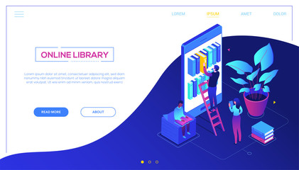 Online library - modern colorful isometric vector web banner