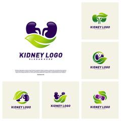 Set of Kidney with Leaf Logo Design Concept. Urology Logo Vector Template