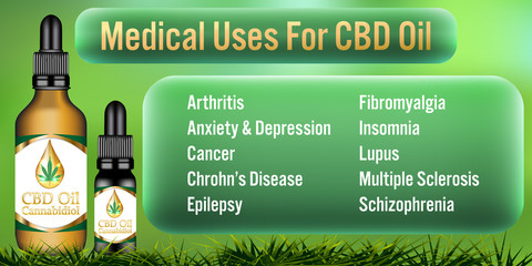 Medical Uses for CBD oil Cannabidiol products background.Vector Illustration
