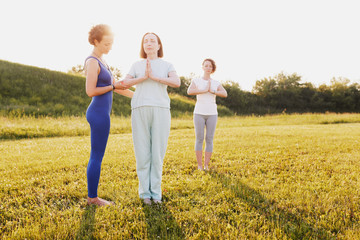 Mother and two young daughters do yoga oh in the park on a sunny summer day. Concept of health and longevity at any age