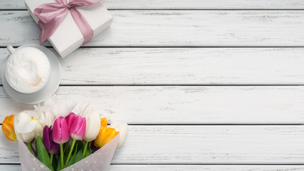 Multicolored tulips background