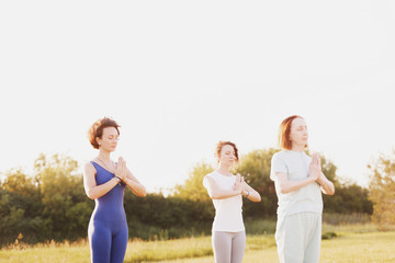 Elderly woman experienced yoga instructor and young girls doing joint training outdoors on a sunny summer day in the park. Concept of flexibility and healthy joints. Copyspace