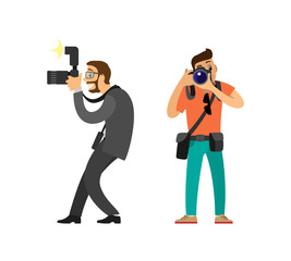 Freelancer taking photos and journalist in glasses wearing suit vector illustrations. Photographer and paparazzi, modern cameras with flash light gear