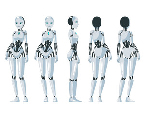 Vector illustration of a  robotic woman under the white background.Cartoon realistic humanoid robot.Flat robot. Front, side and back views. RPA Robotic progress automatisation concept illustration.
