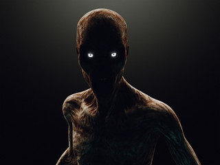 Zombie or monster in the dark, 3d rendering