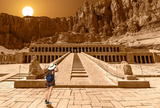 The Mortuary Temple of Hatshepsut, also known as the Djeser-Djeseru. It is located beneath the cliffs at Deir el-Bahari on the west bank of the Nile near the Valley of the Kings