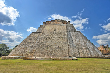The Pyramid of the Magician  located in the ancient, Pre-Columbian city of Uxmal, Mexico