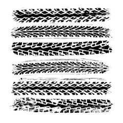 Set of 6 realistic rubber tire track imprints