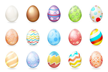 Spring holiday colorful painted 3d easter chocolate eggs icons isolated set vector illustration