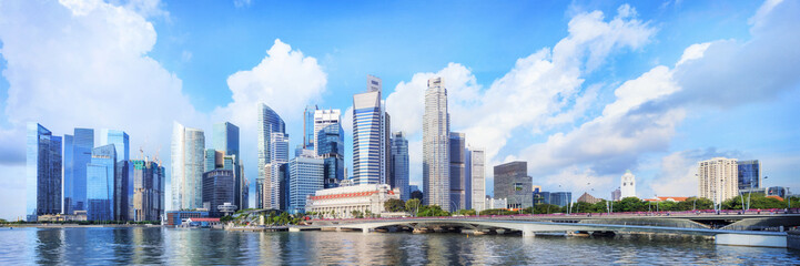 central Singapore skyline. Financial towers and Esplanade drive bridge