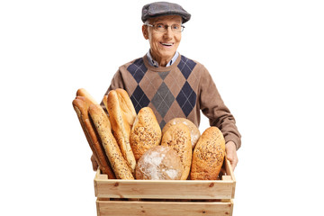 Senior man holding a box with bread loafs
